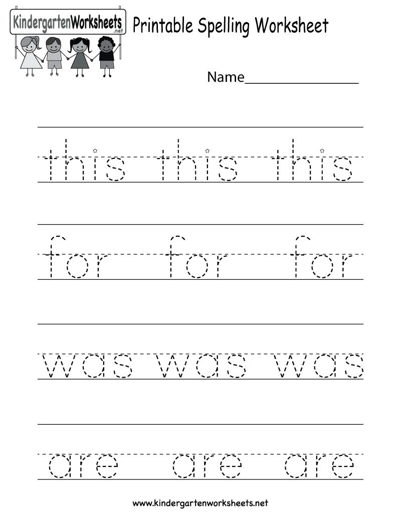 Printable Spelling Worksheet - Free Kindergarten English Worksheet - Free Printable Worksheets