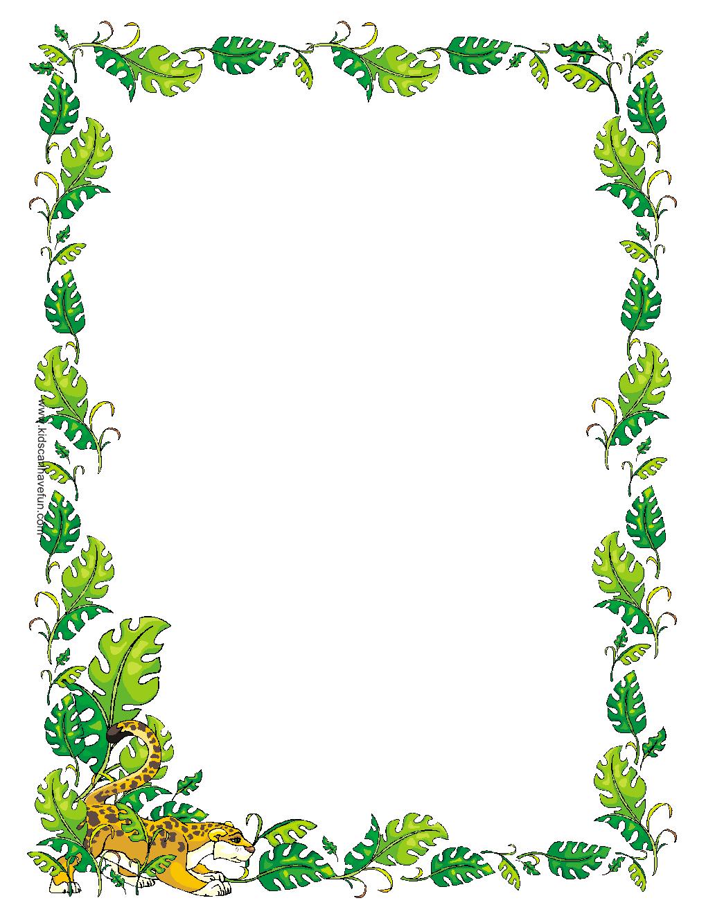 Printable Stationary Paper   Jungle/ Safari   Borders For Paper - Writing Borders Free Printable