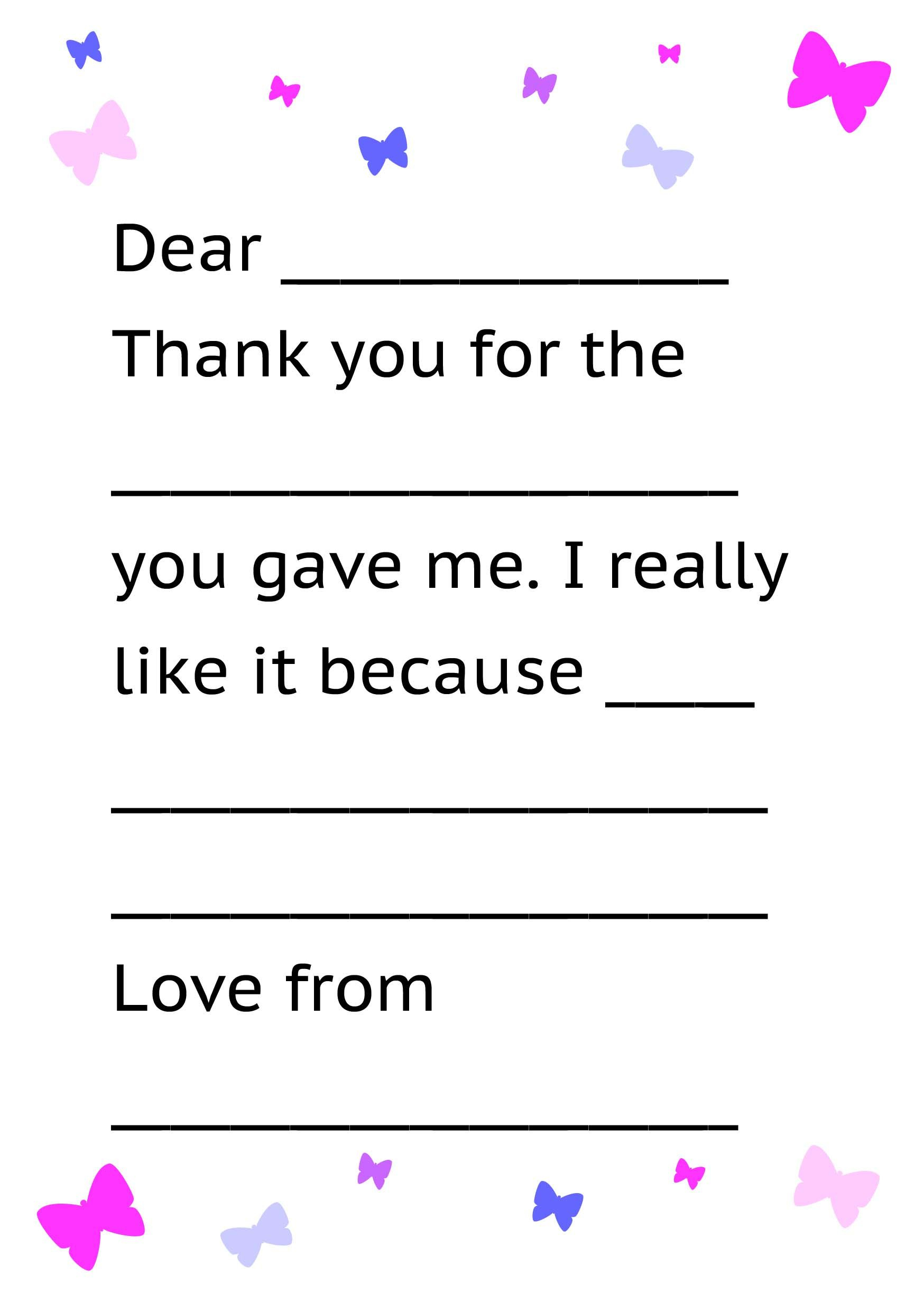 Printable Thank You Card Template For Kids | Kids Thank Yous - Free Printable Letter Writing Templates