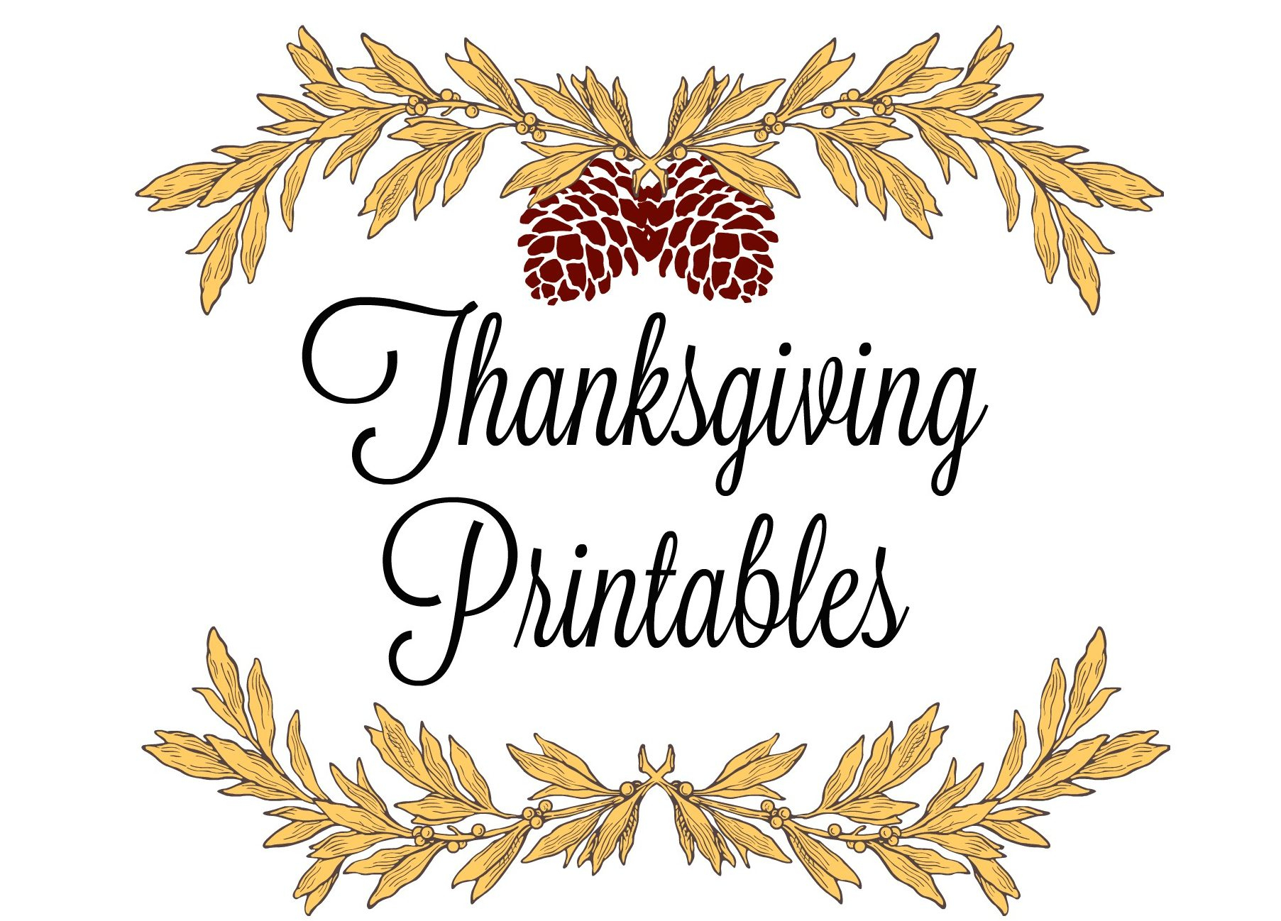 Printable Thanksgiving Place Cards & Menus - Free Printable Thanksgiving Place Cards