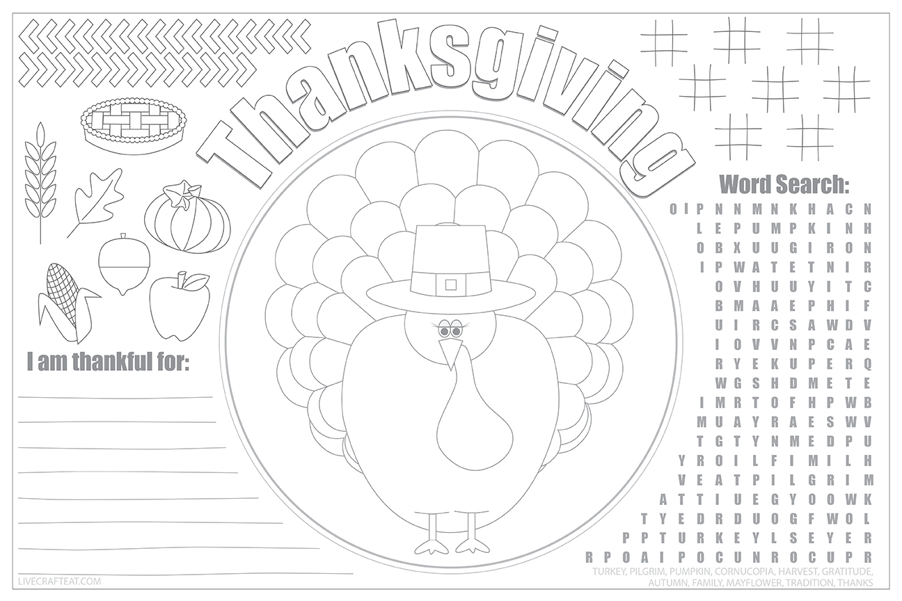 Printable Thanksgiving Placemats For Kids - Free   Live Craft Eat - Free Printable Thanksgiving Coloring Placemats