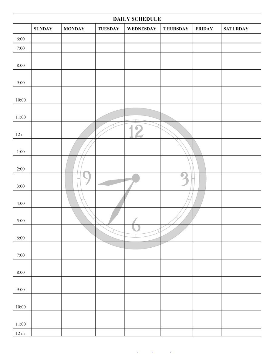 Printable Time Schedule Template Daily Planner Templates Free Lab - Free Printable Schedule