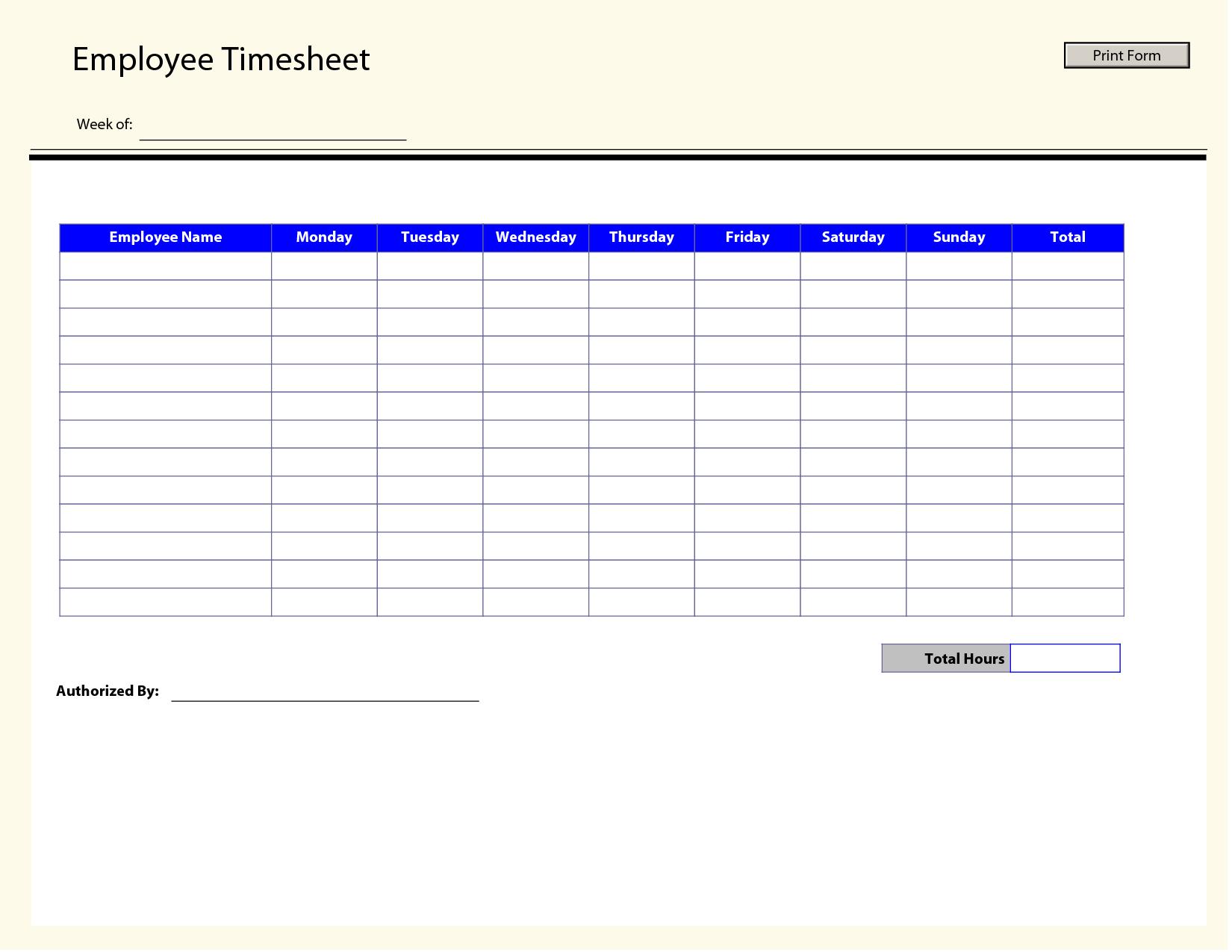 Printable Time Sheets   Free Printable Employee Timesheets Employee - Free Printable Time Sheets Forms