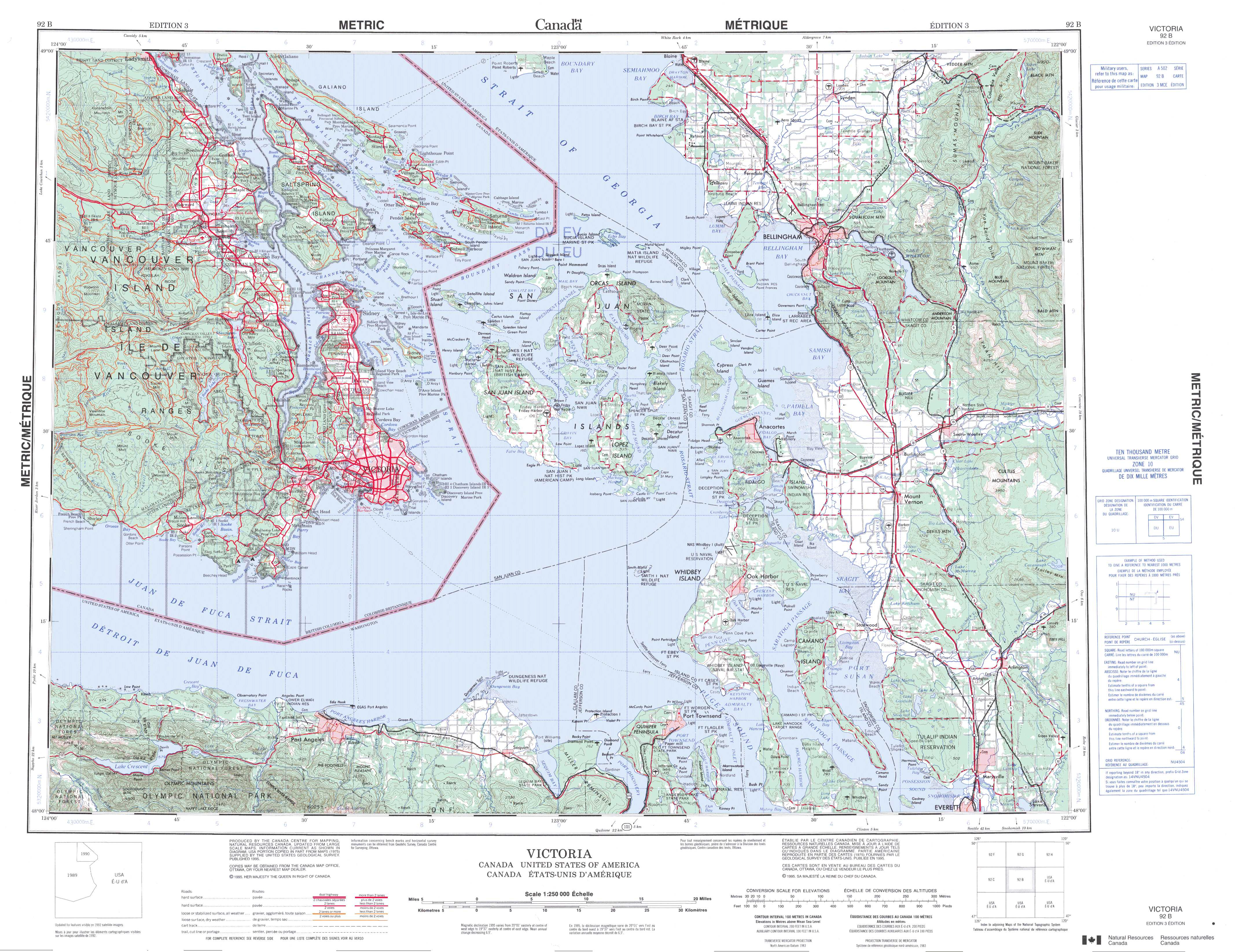 Printable Topographic Map Of Victoria 092B, Bc - Free Printable Topo Maps