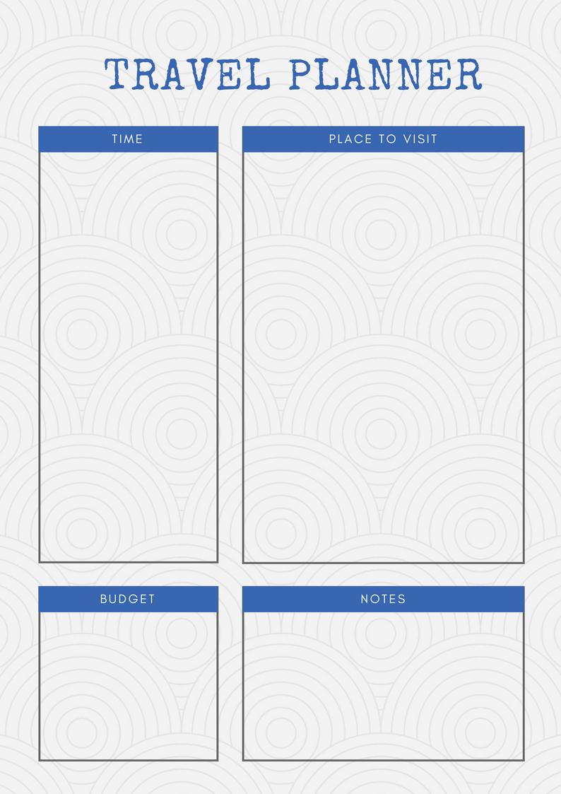 Printable Travel Planners   Carrentalia - Free Printable Trip Planner