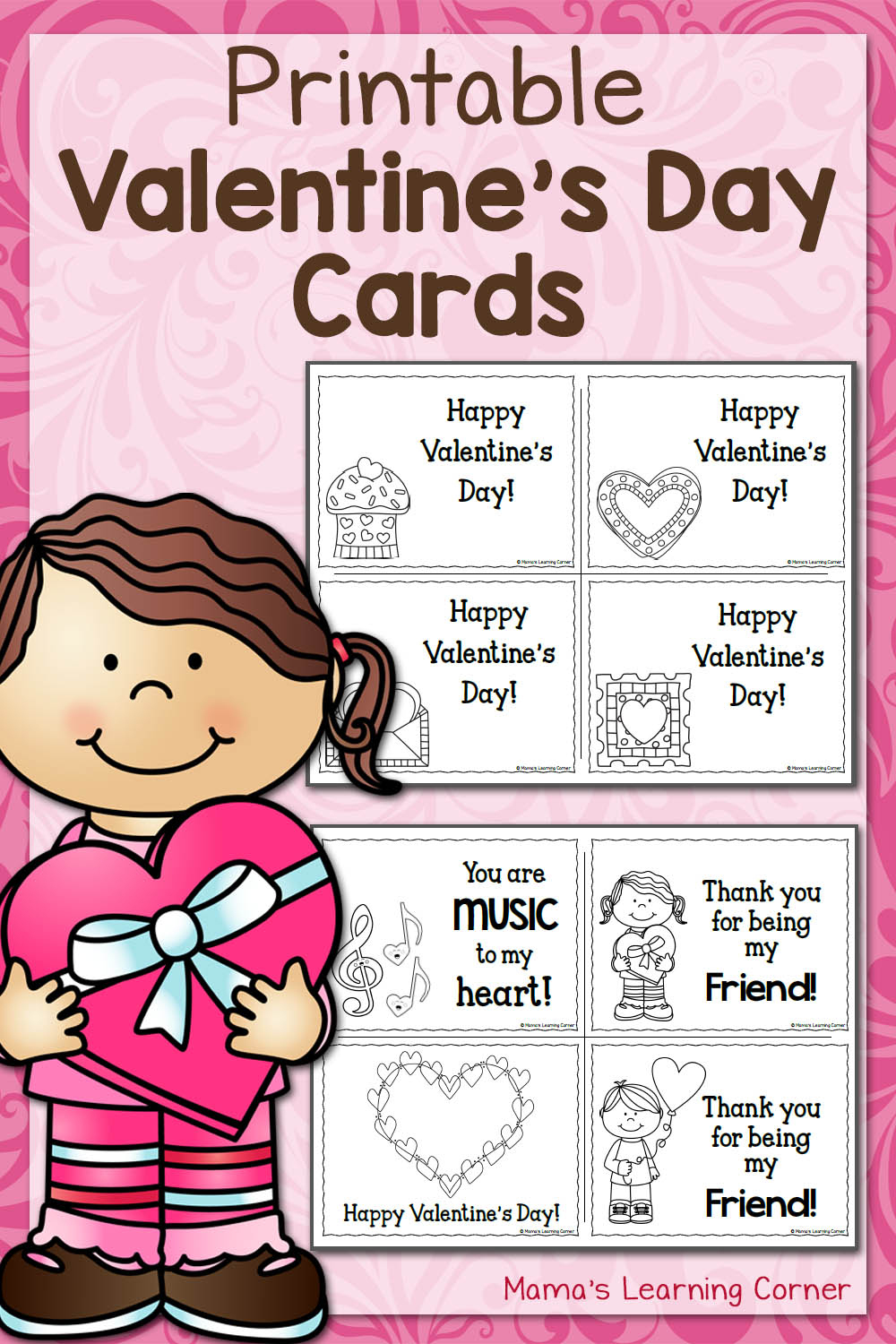 Printable Valentine's Day Cards - Mamas Learning Corner - Free Printable Preschool Valentine Worksheets