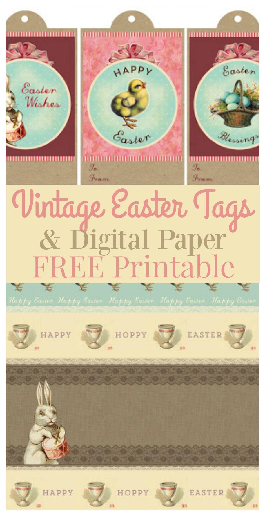Printable Vintage Easter Gift Tags & Digital Paper | Easter - Free Printable Vintage Easter Images