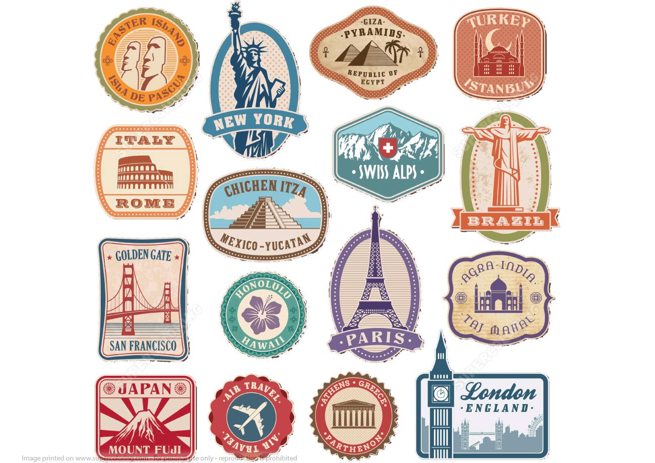 Printable Vintage Travel Stickers | Free Printable Papercraft Templates - Free Printable Old Fashioned Labels