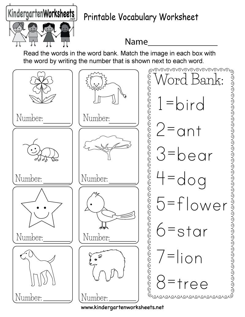 Printable Vocabulary Worksheet - Free Kindergarten English Worksheet - Free Printable Esl Resources