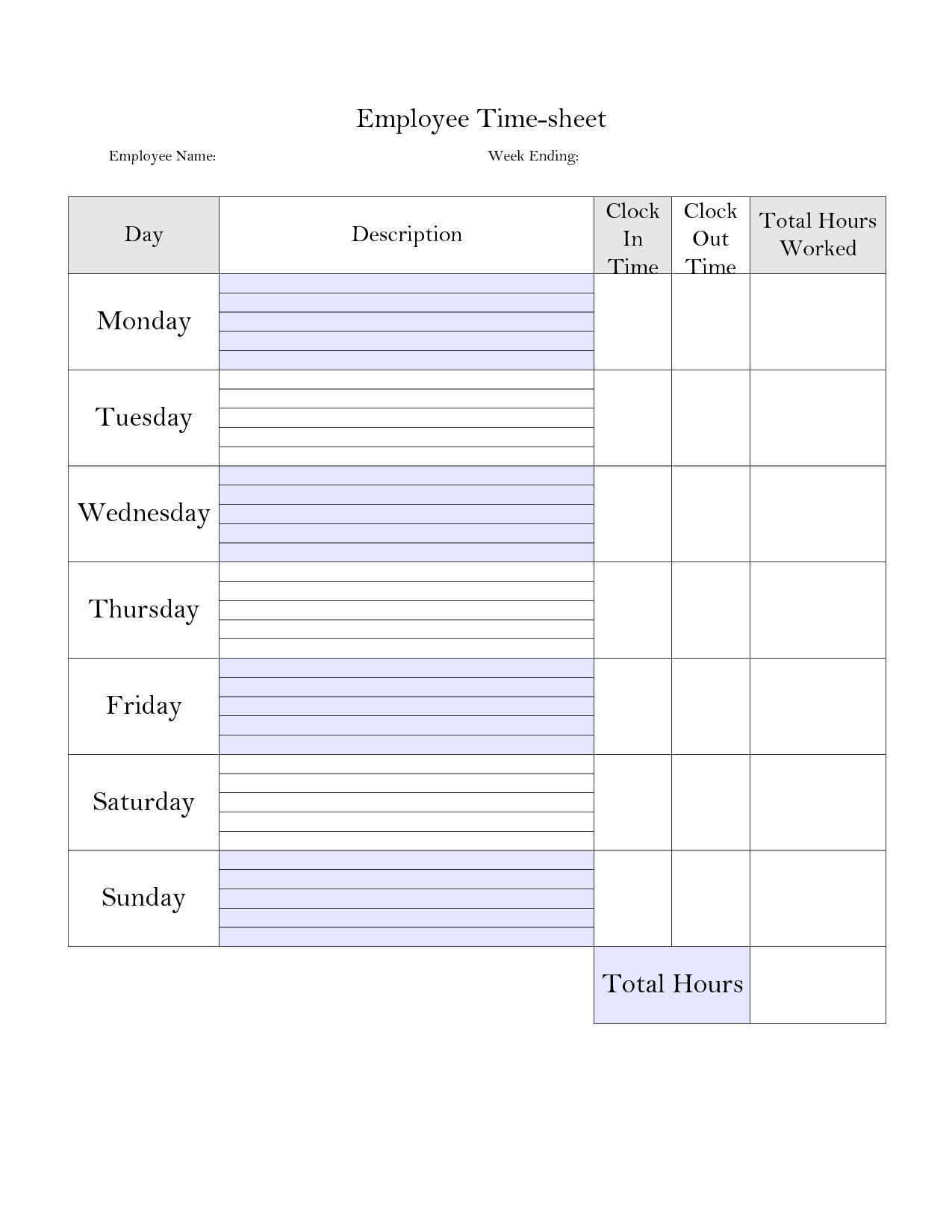 Printable Weekly Employee Time Card - Google Search | Planner Stuff - Time Card Templates Free Printable