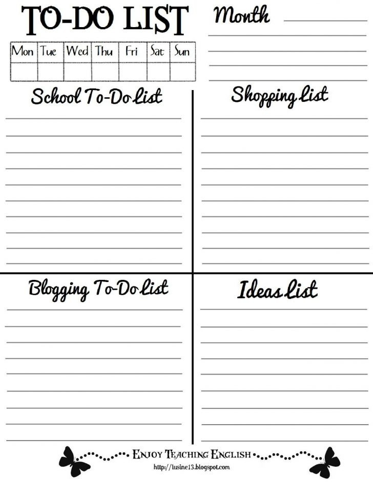 To Do Template Free Printable