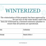 Printable Winterized Sign Sign Throughout Free Printable   Free Printable Winterization Stickers