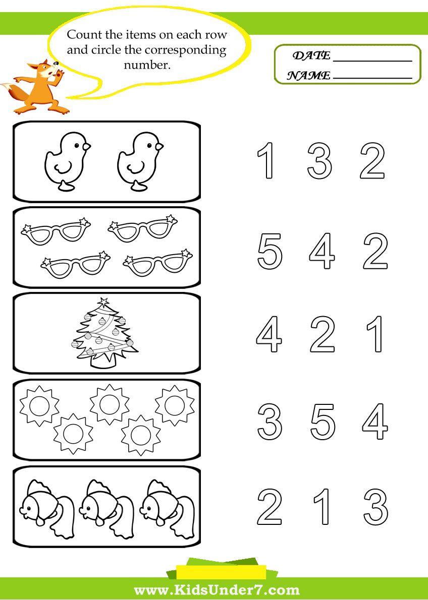 Printables For Preschool   Kids Under 7: Preschool Counting - Free Printable Activities For Preschoolers