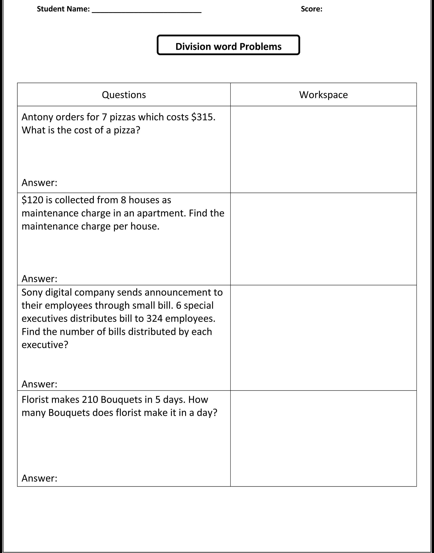 Printables Free Integer Word Problems Worksheet Integer Word - Free Printable Division Word Problems Worksheets For Grade 3