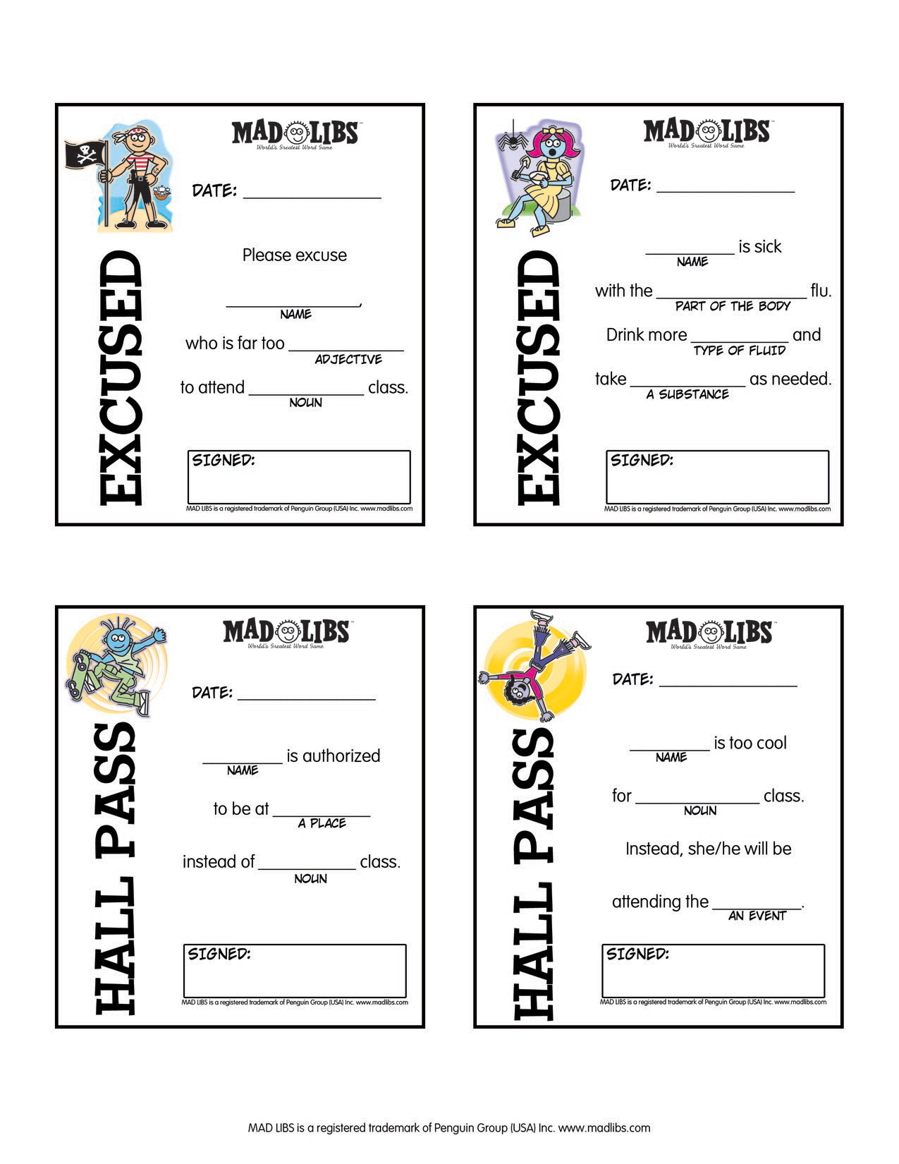 Printables – Mad Libs - Free Printable Hall Pass Template