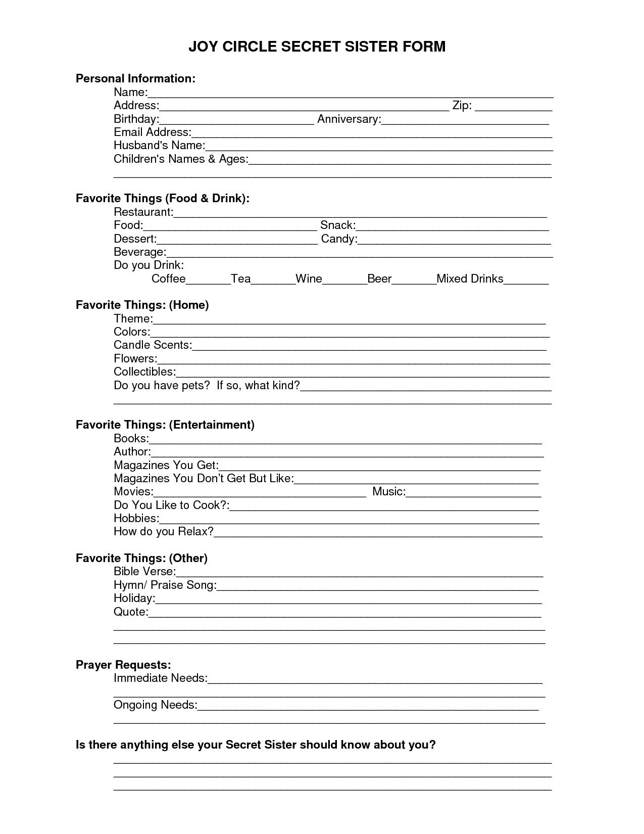Printable+Secret+Sister+Forms | Just Things - Free Printable Secret Pal Forms