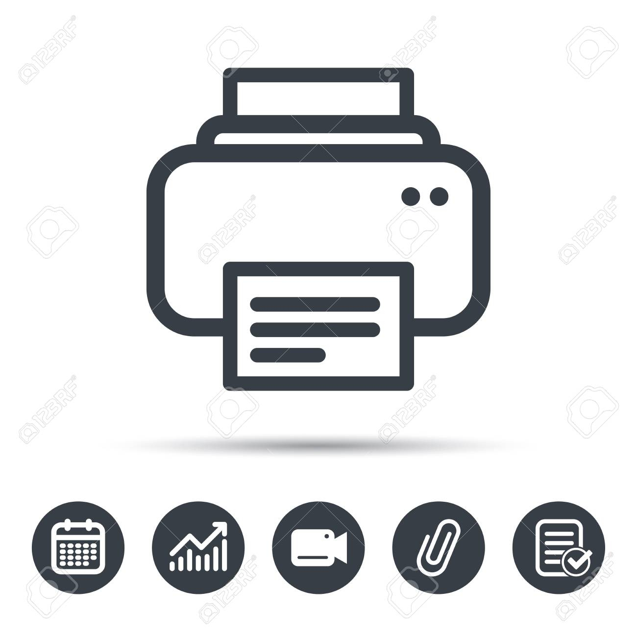 Printer Icon. Print Documents Technology Symbol. Calendar, Chart - Printable Video Surveillance Signs Free
