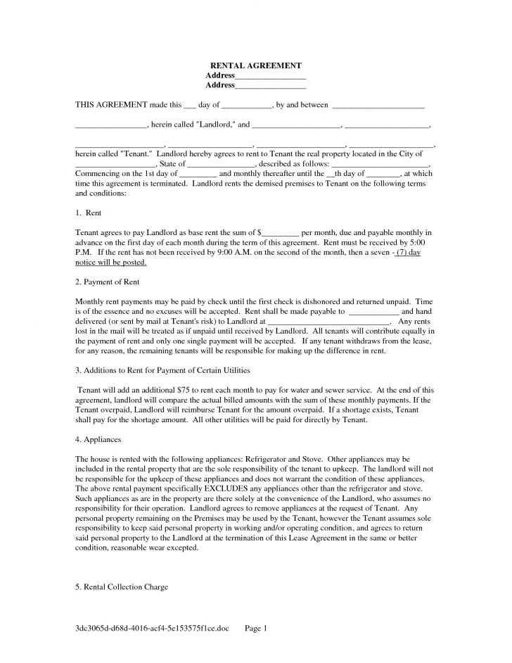 Blank Lease Agreement Free Printable