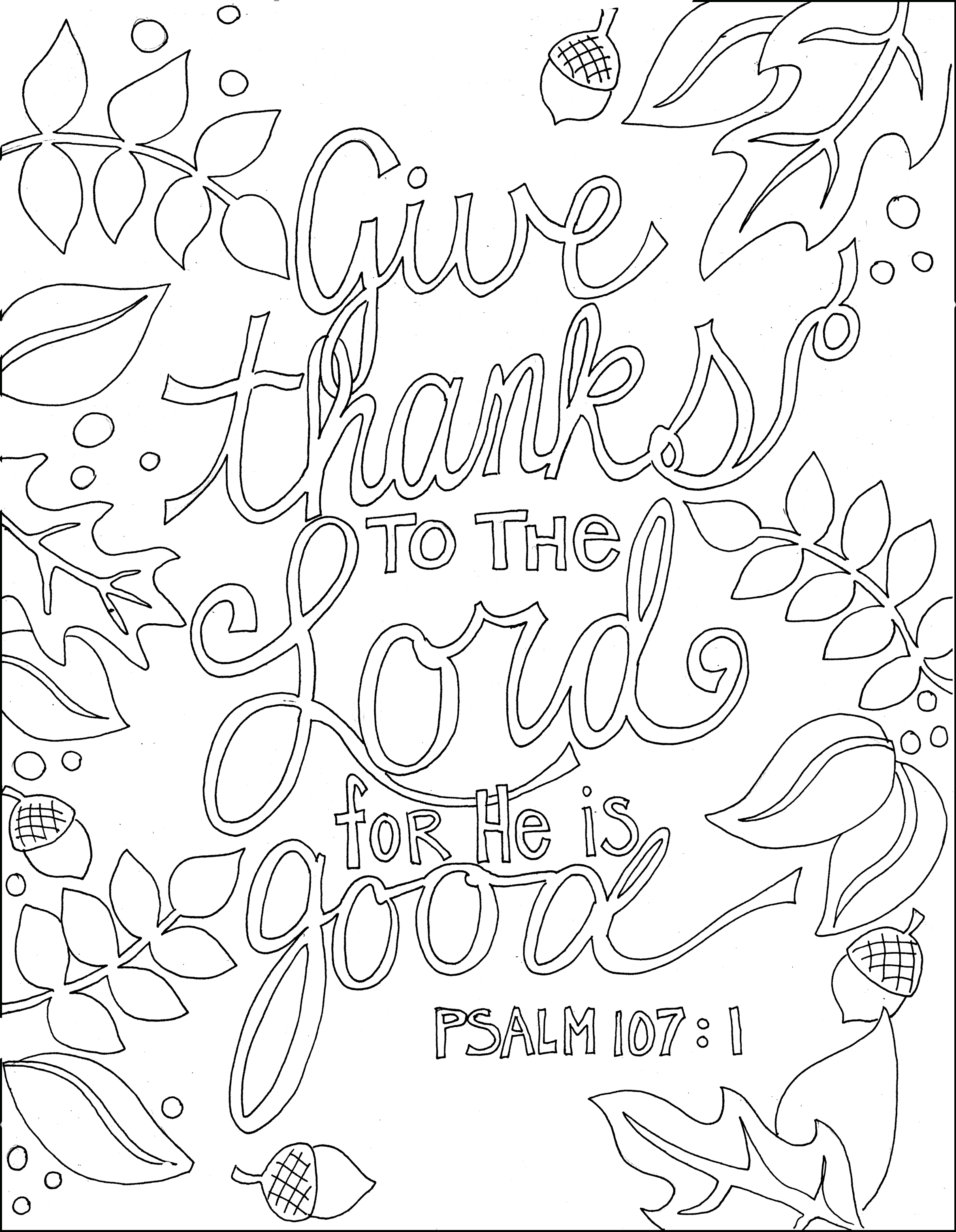 Ps 107.1 And Many Other Printable Bible Verse Coloring Pages | Adult - Free Printable Bible Coloring Pages