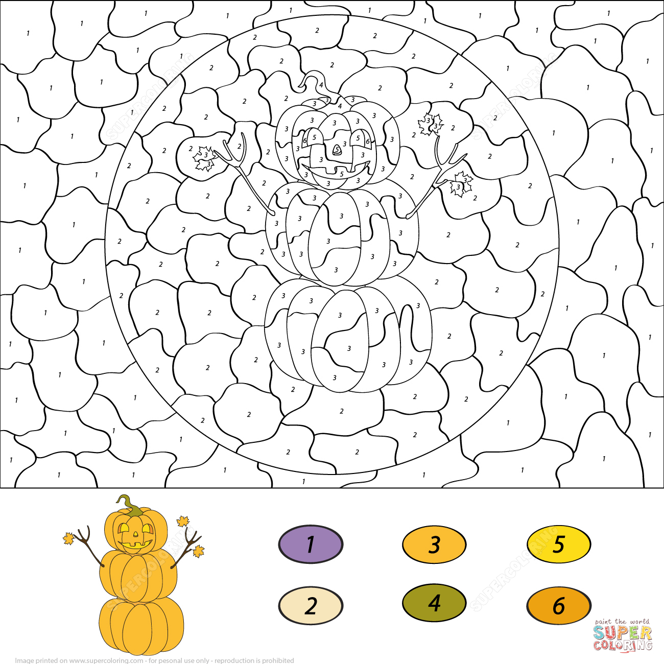 Pumpkin Snowman Colornumber | Free Printable Coloring Pages - Free Printable Paint By Number Coloring Pages