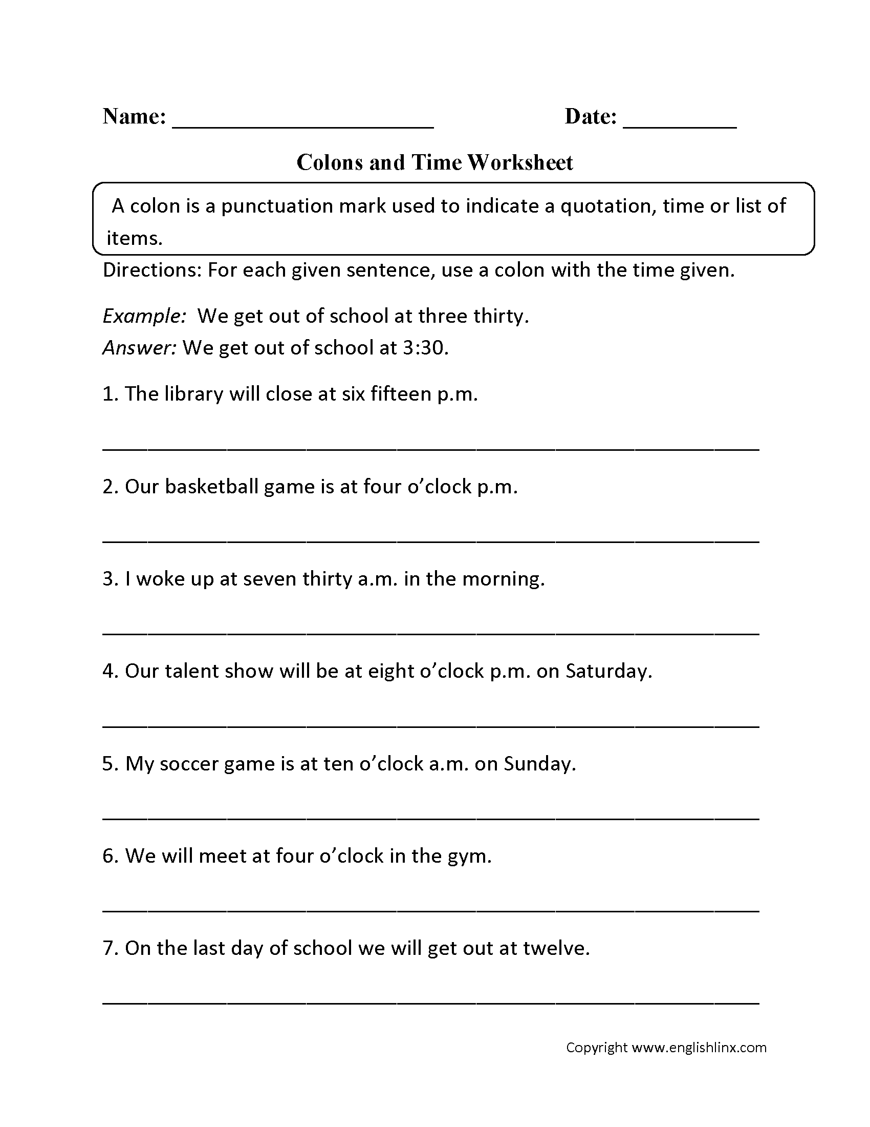 Punctuation Worksheets | Colon Worksheets - Free Printable Grammar Worksheets For Highschool Students