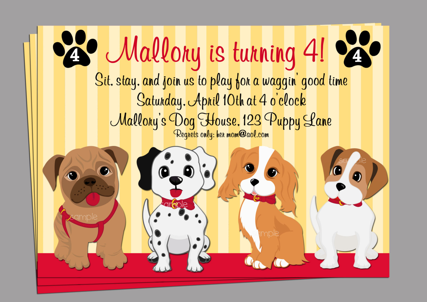 Puppy Dog Invitation Printable Or Printed With Free Shipping   Etsy - Free Printable Puppy Dog Birthday Invitations