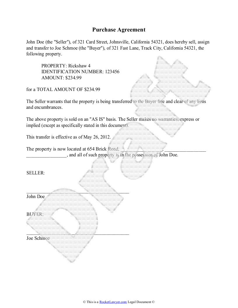 Purchase Agreement Template - Free Purchase Agreement - Free Printable Legal Documents Forms