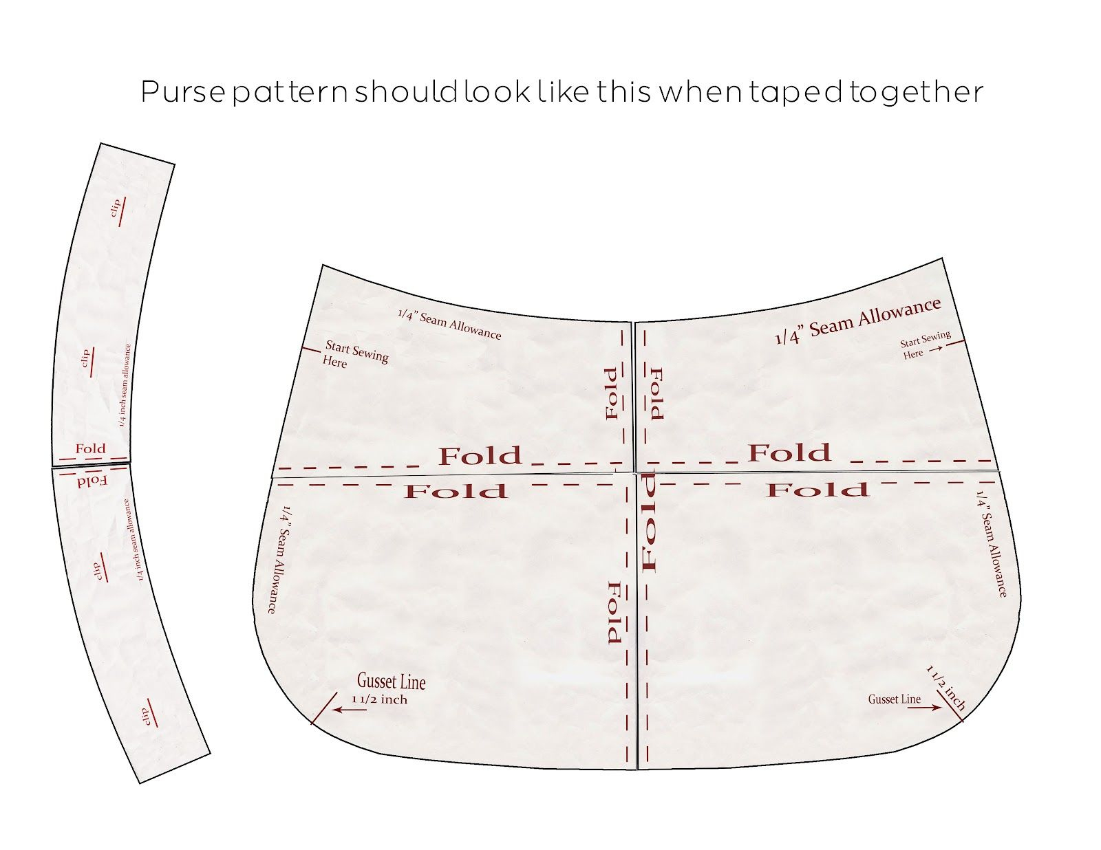 Purse Patterns Print Free |  Download The Pattern Pieces To Your - Handbag Patterns Free Printable