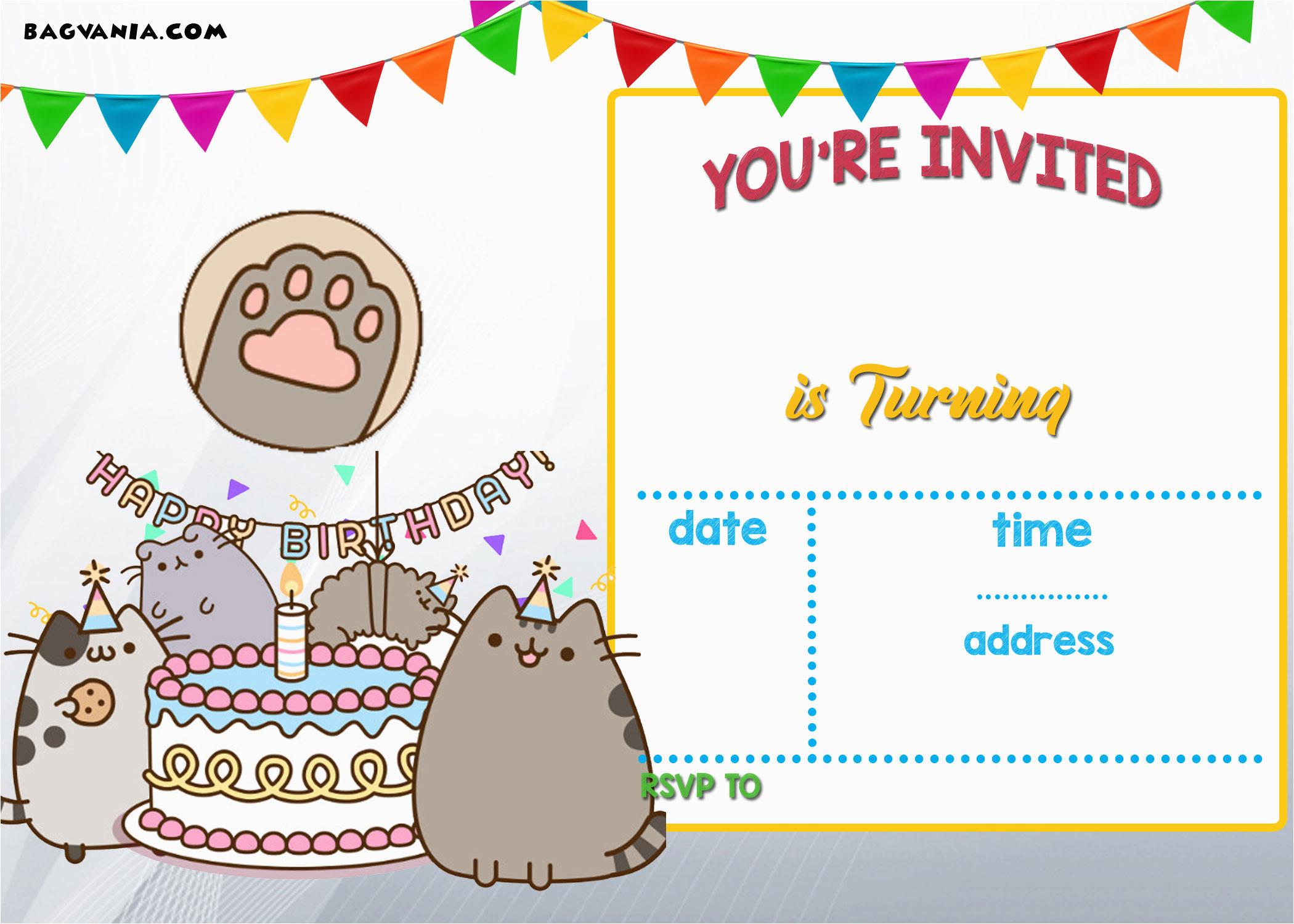 Pusheen Birthday Invitations | Birthdaybuzz - Free Printable Water Park Birthday Invitations