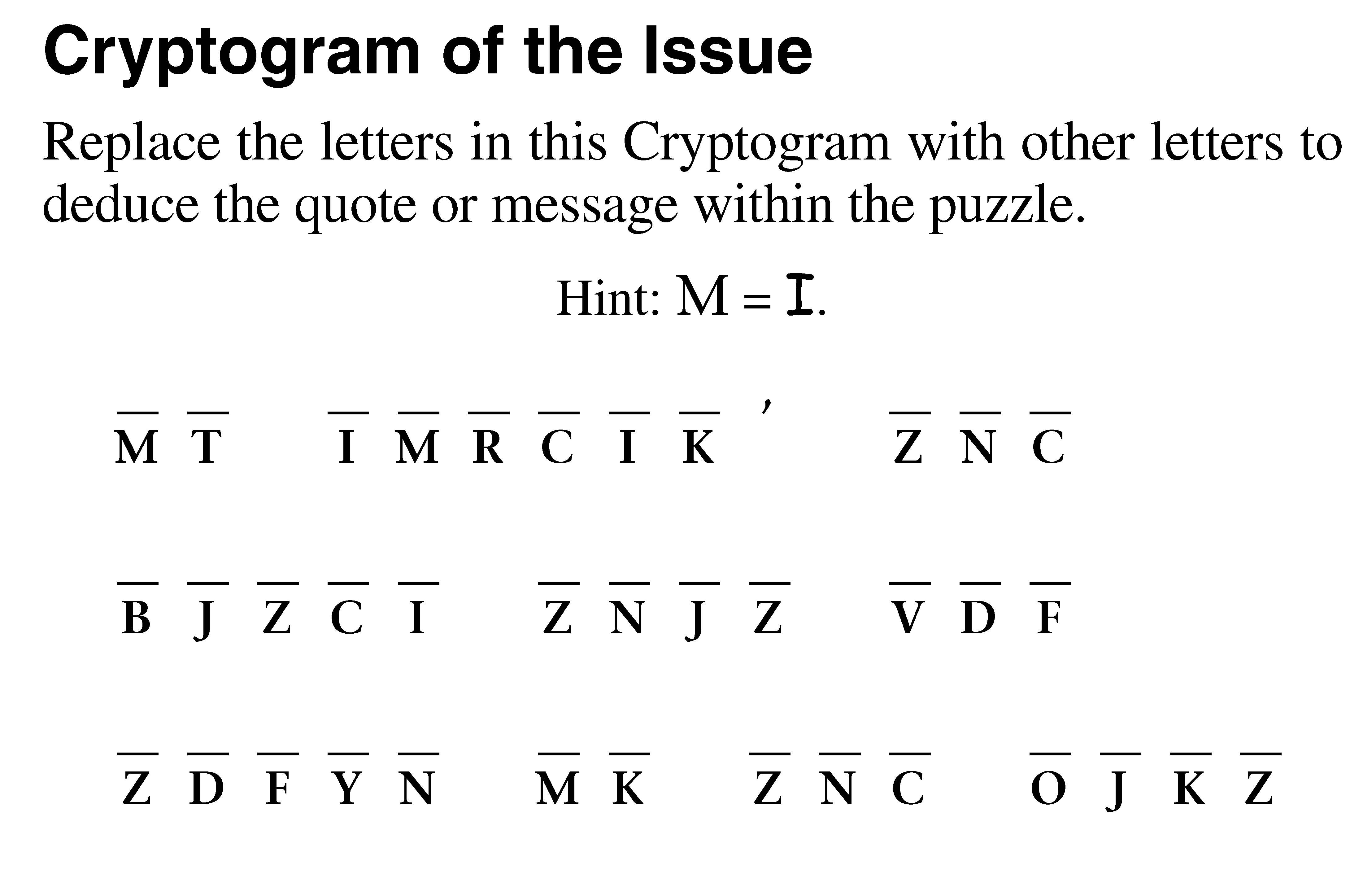 Puzzles Page: October 26, 2018 - The Grey Area News - Free Printable Cryptoquip Puzzles