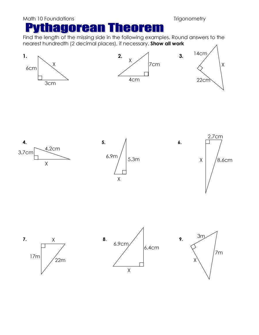 Pythagoras Theorem Worksheet Pdf - 48 Pythagorean Theorem Worksheet - Free Printable Pythagorean Theorem Worksheets