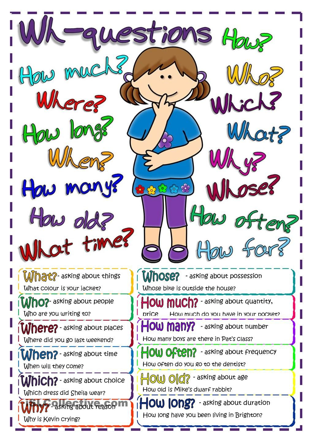 Questions - Poster | Free Esl Worksheets #teaching #english - Free Printable Esl Resources