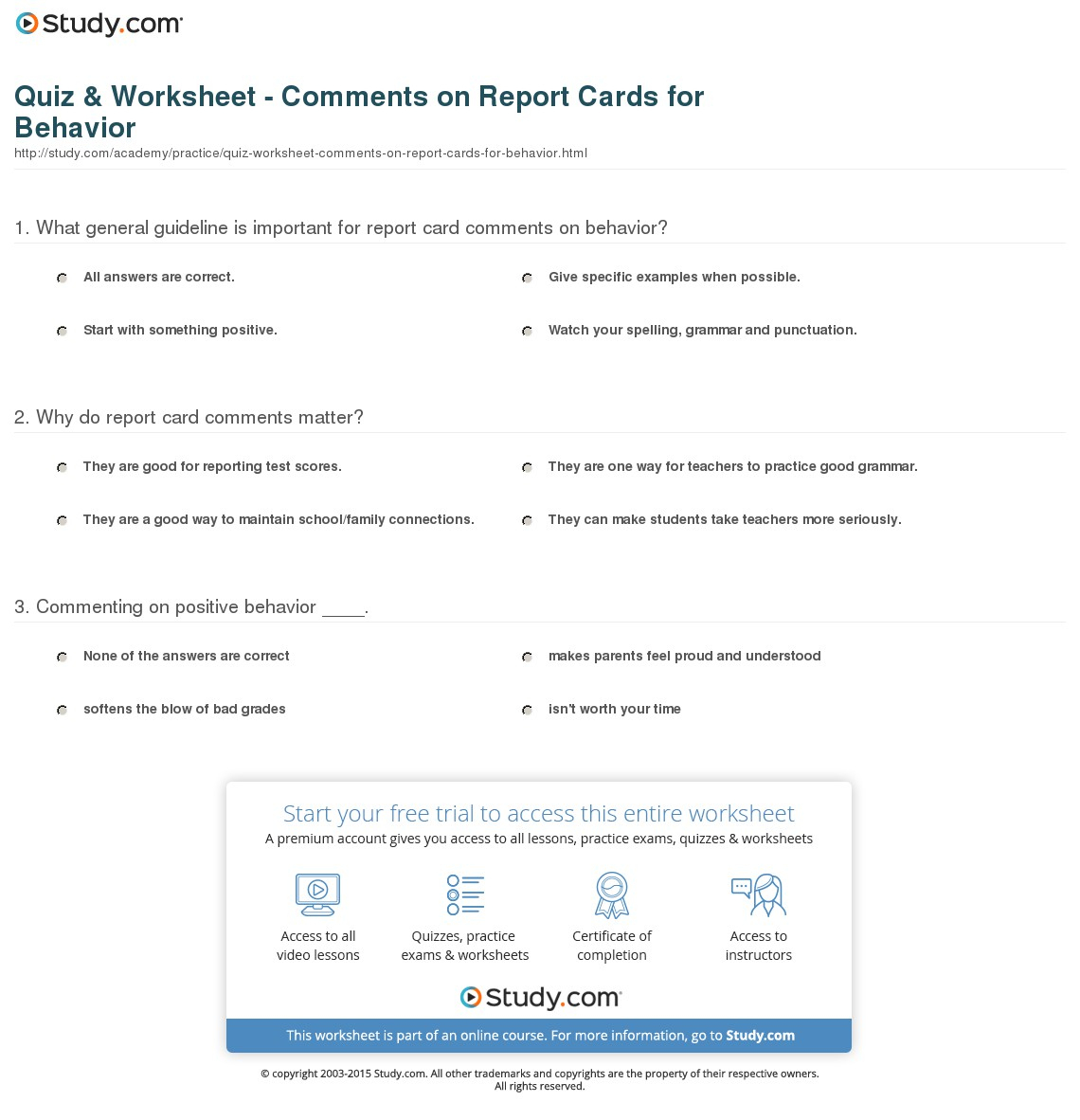 Quiz & Worksheet - Comments On Report Cards For Behavior | Study - Free Printable Report Card Comments