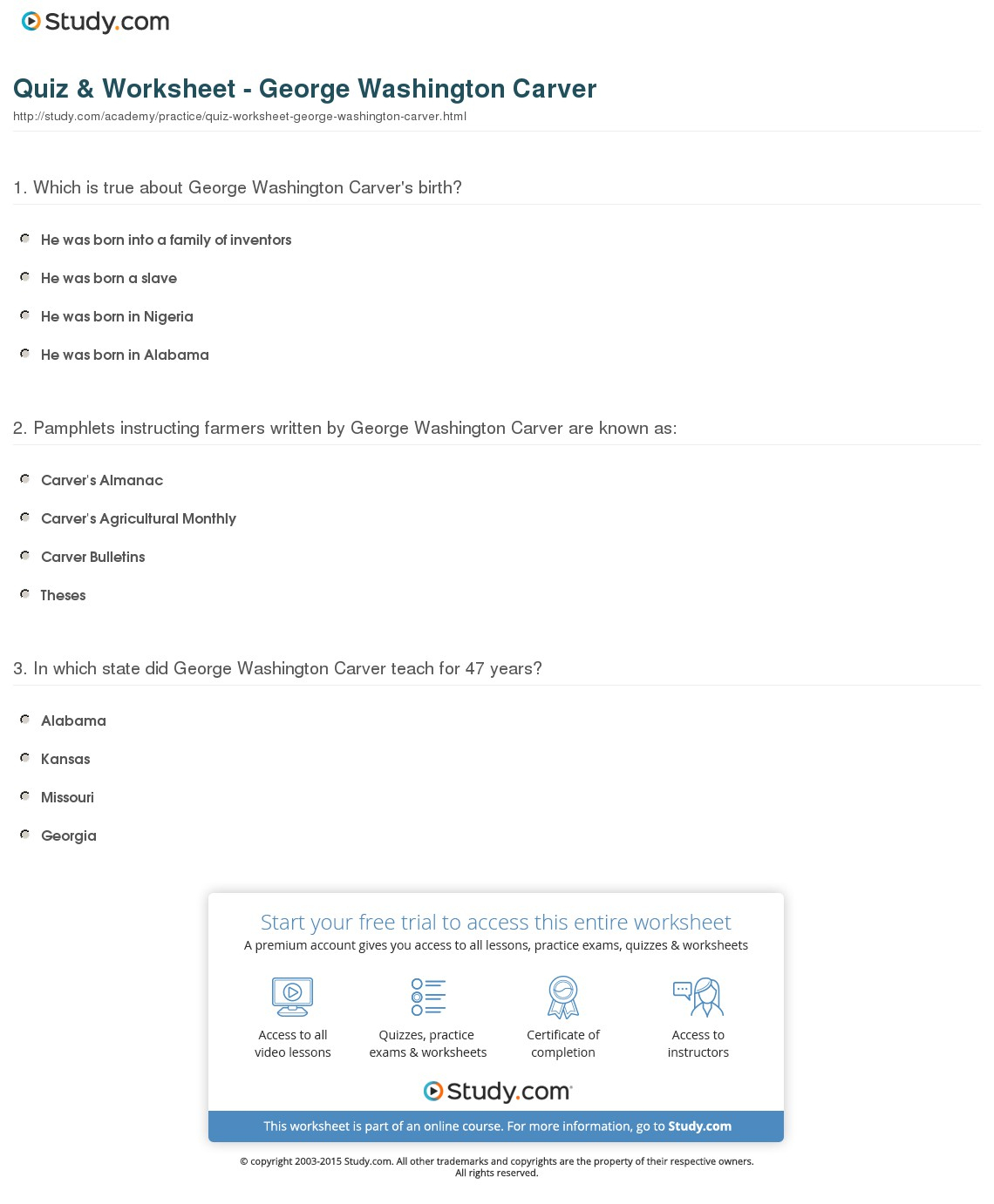 Quiz & Worksheet - George Washington Carver | Study - Free Printable George Washington Worksheets