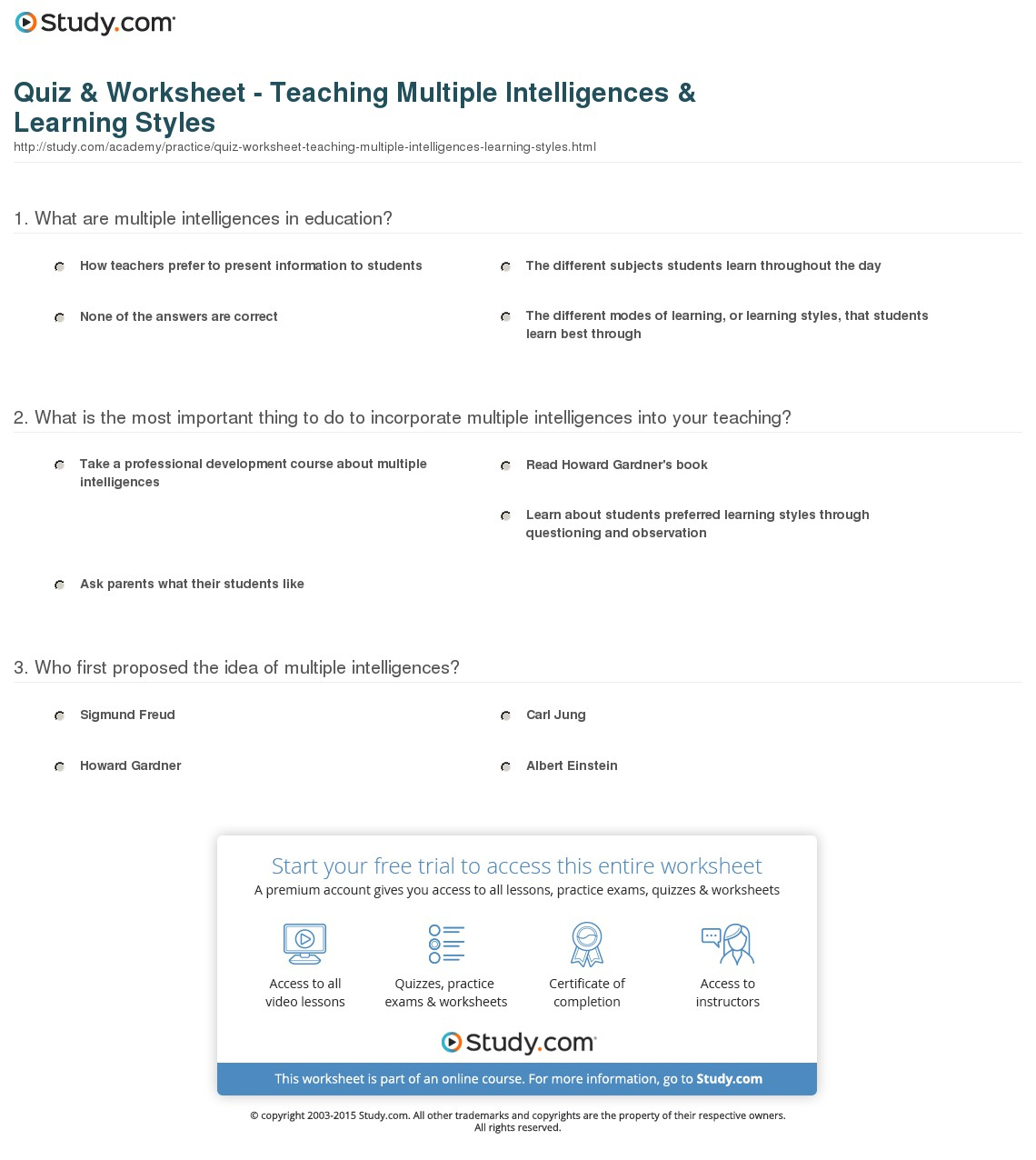 Quiz & Worksheet - Teaching Multiple Intelligences & Learning Styles - Free Printable Learning Styles Questionnaire