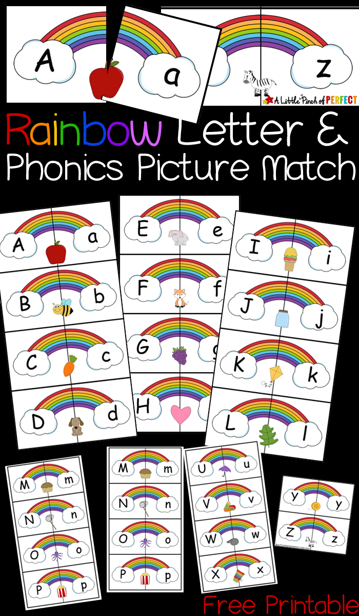 Rainbow Letter And Phonics Picture Match Free Printable - - Free Printable Rainbow Letters