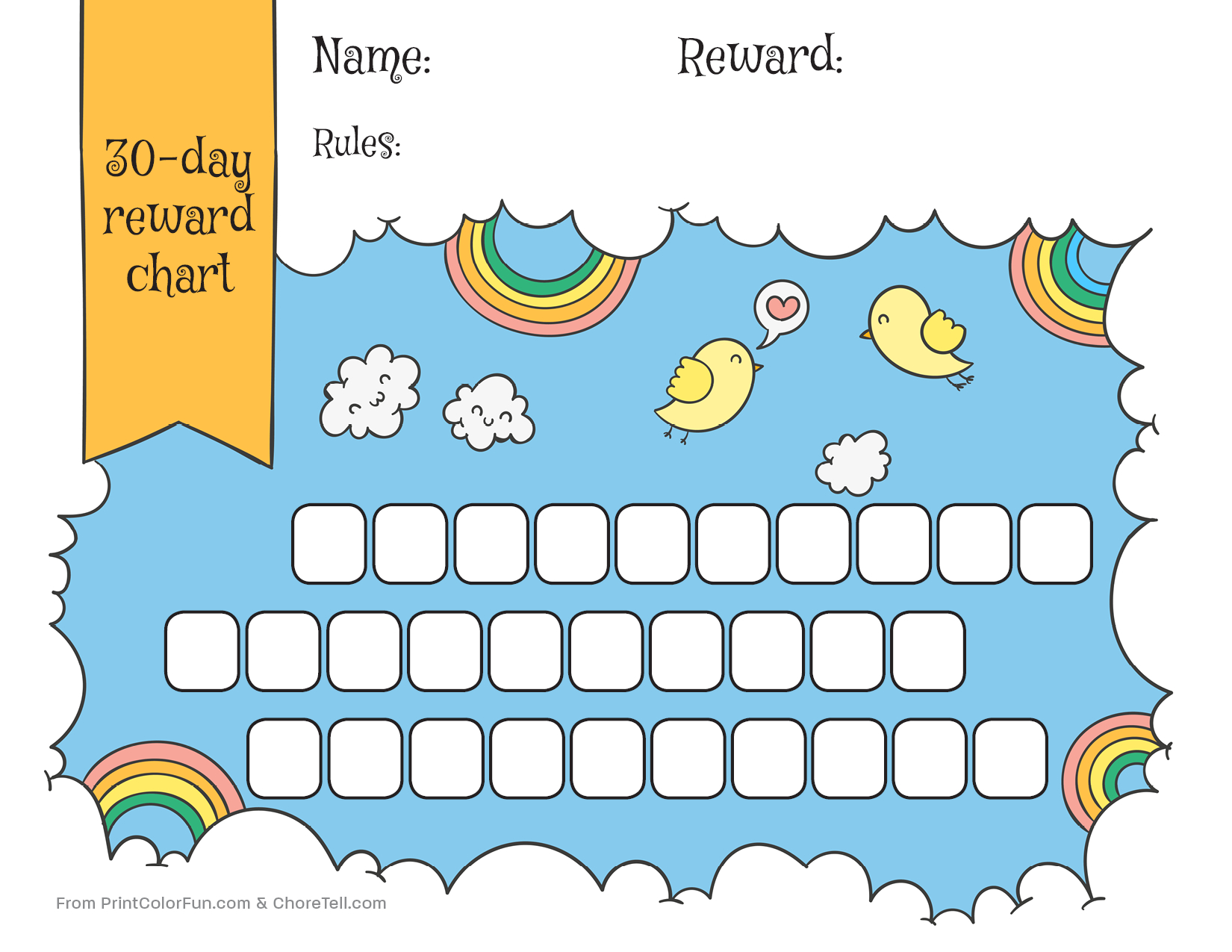 Rainbow & Sky 30-Day Reward Chart For Kids - Free Printable - Reward Charts For Toddlers Free Printable
