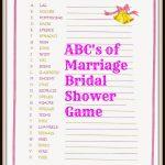 Raising Samuels Life: Free: Abc's Of Marriage Bridal Shower Game   Free Printable Bridal Shower Games Word Scramble