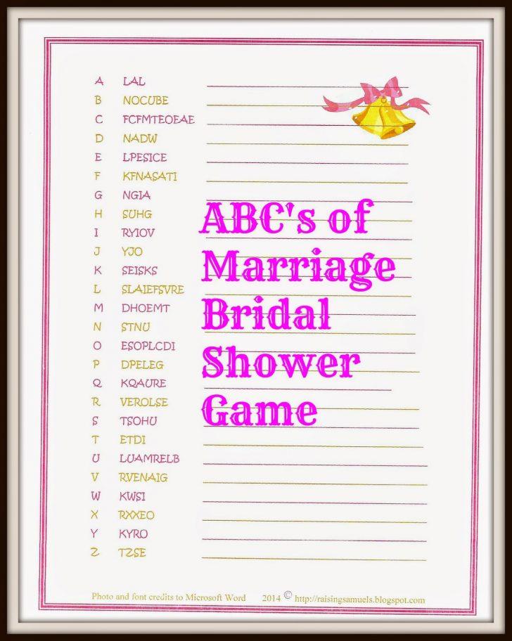 Free Printable Bridal Shower Games Word Scramble