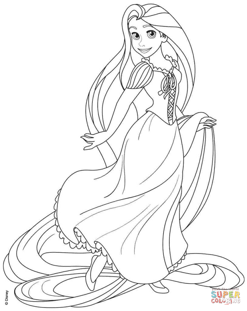 Rapunzel From Disney Tangled Coloring Page | Free Printable Coloring - Free Printable Tangled