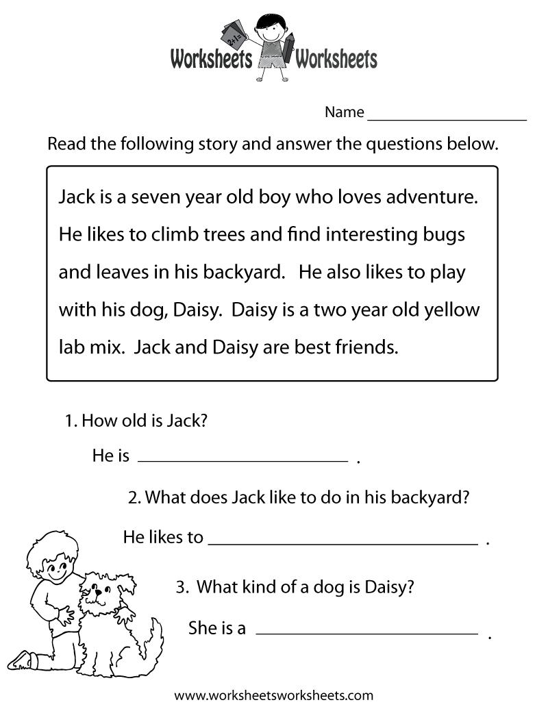 Reading Comprehension Practice Worksheet Printable | Language - Free Printable English Reading Worksheets For Kindergarten