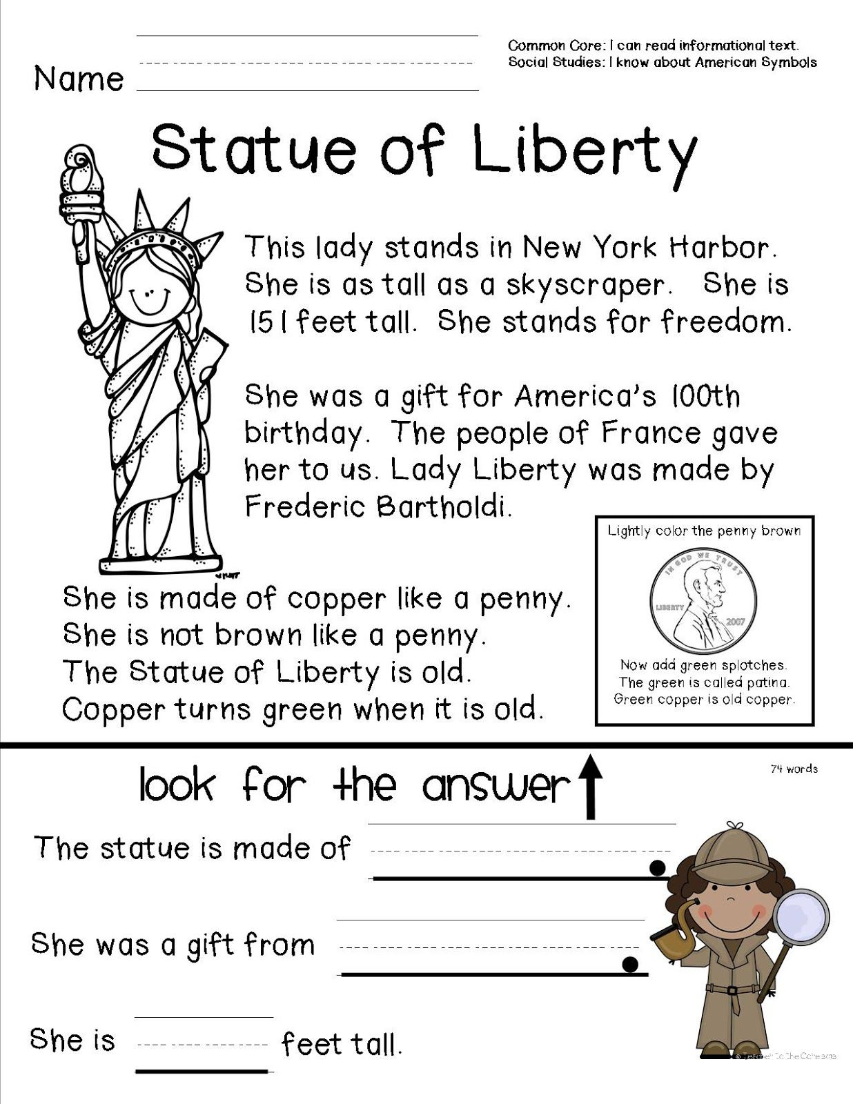 Reading Comprehension Sheet About The Statue Of Liberty For Primary - Social Studies Worksheets First Grade Free Printable