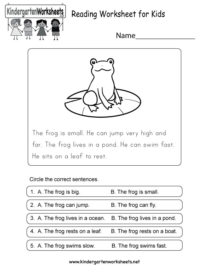 Reading Worksheet For Kids - Free Kindergarten English Worksheet For - Free Printable English Reading Worksheets For Kindergarten