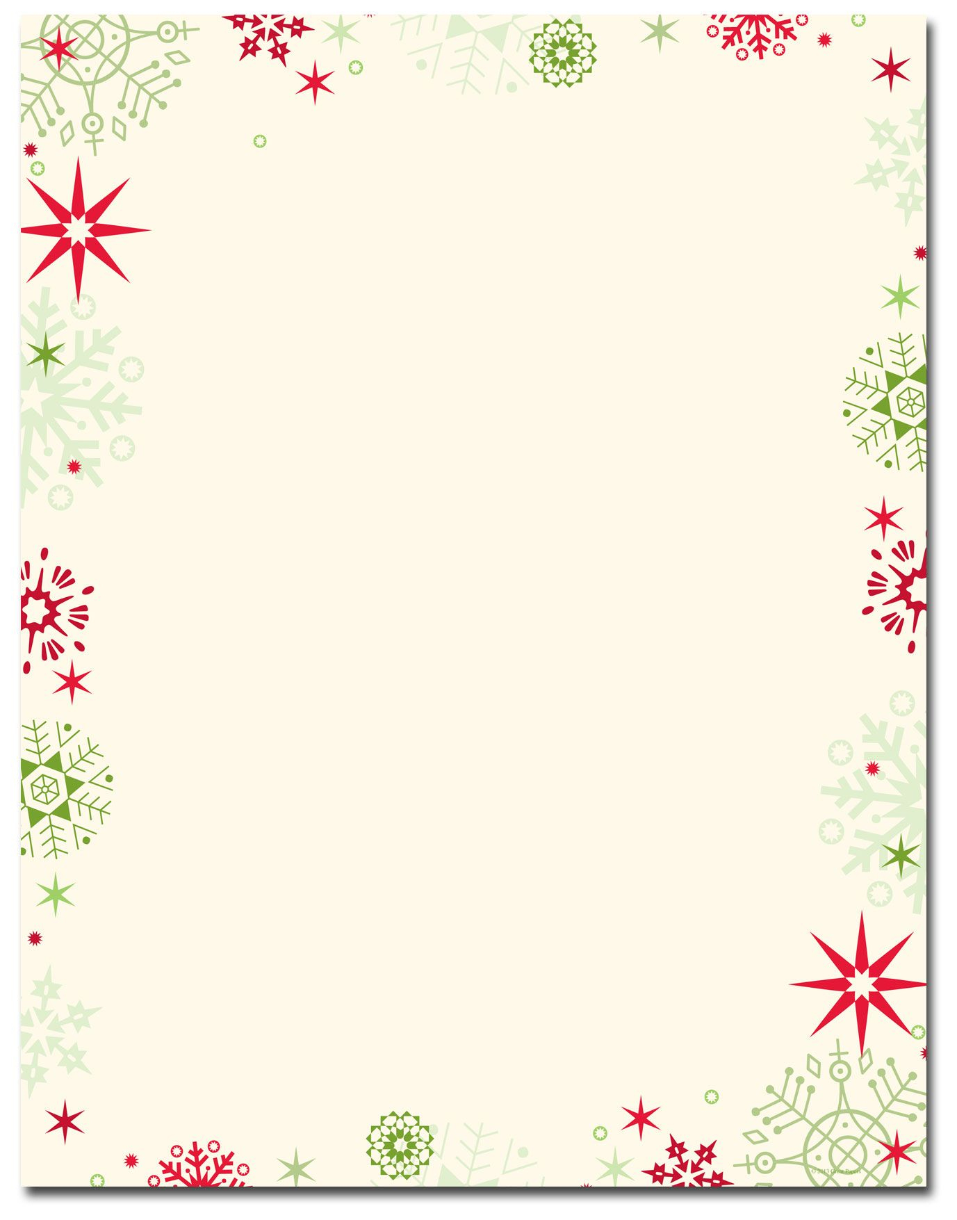 Red & Green Flakes Letterhead | Holiday Papers | Pinterest - Free Printable Christmas Borders