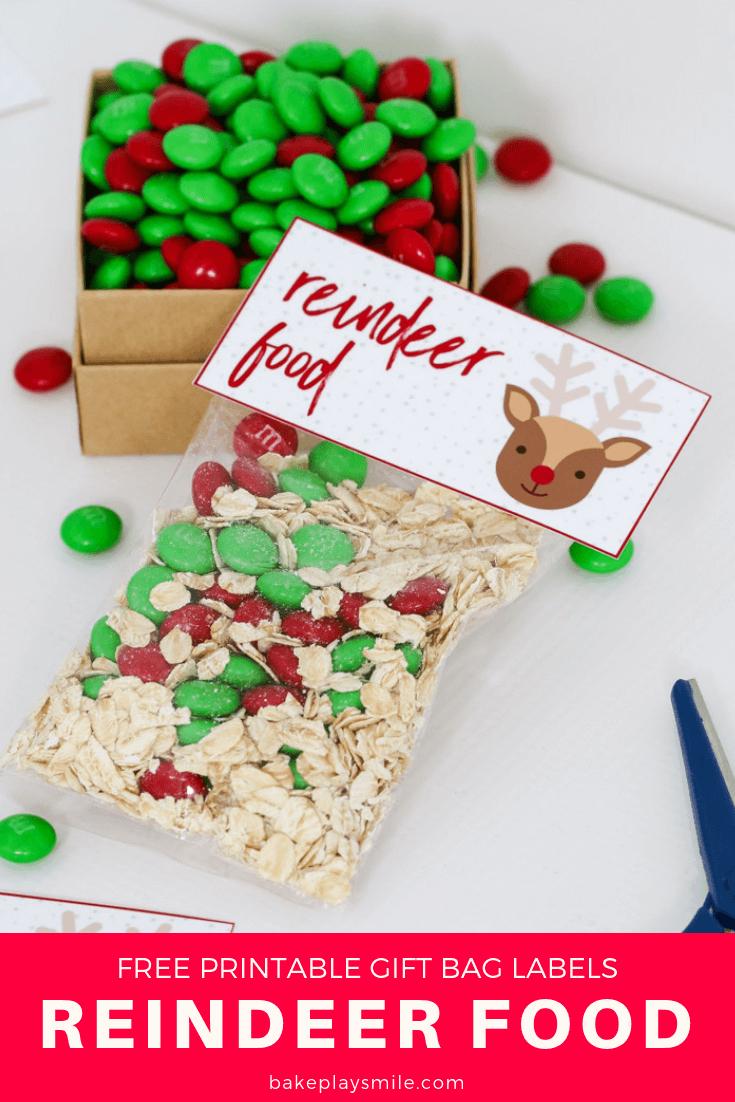Reindeer Food - Free Christmas Printable Gift Bag - Bake Play Smile - Free Printable Christmas Food Labels