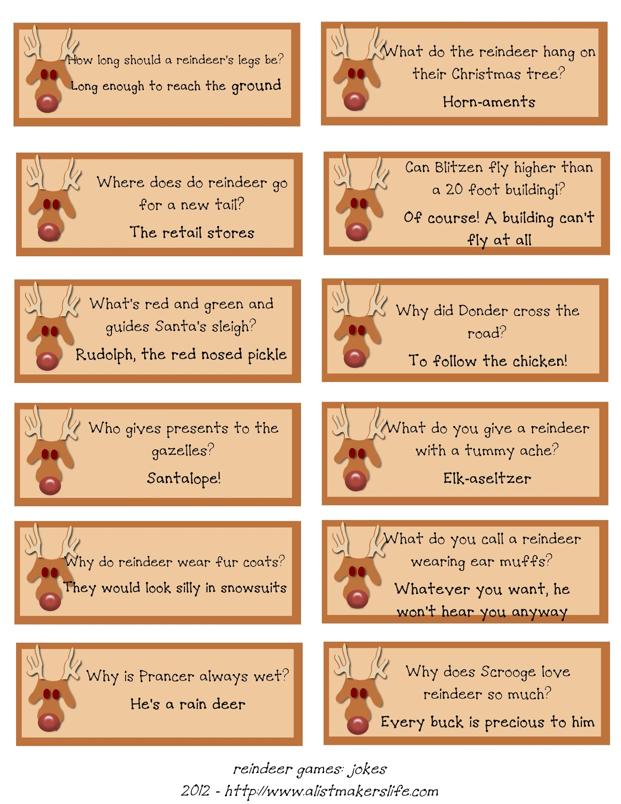 Reindeer Riddles: Free Printable | A List Maker's Life - Free Printable Riddles