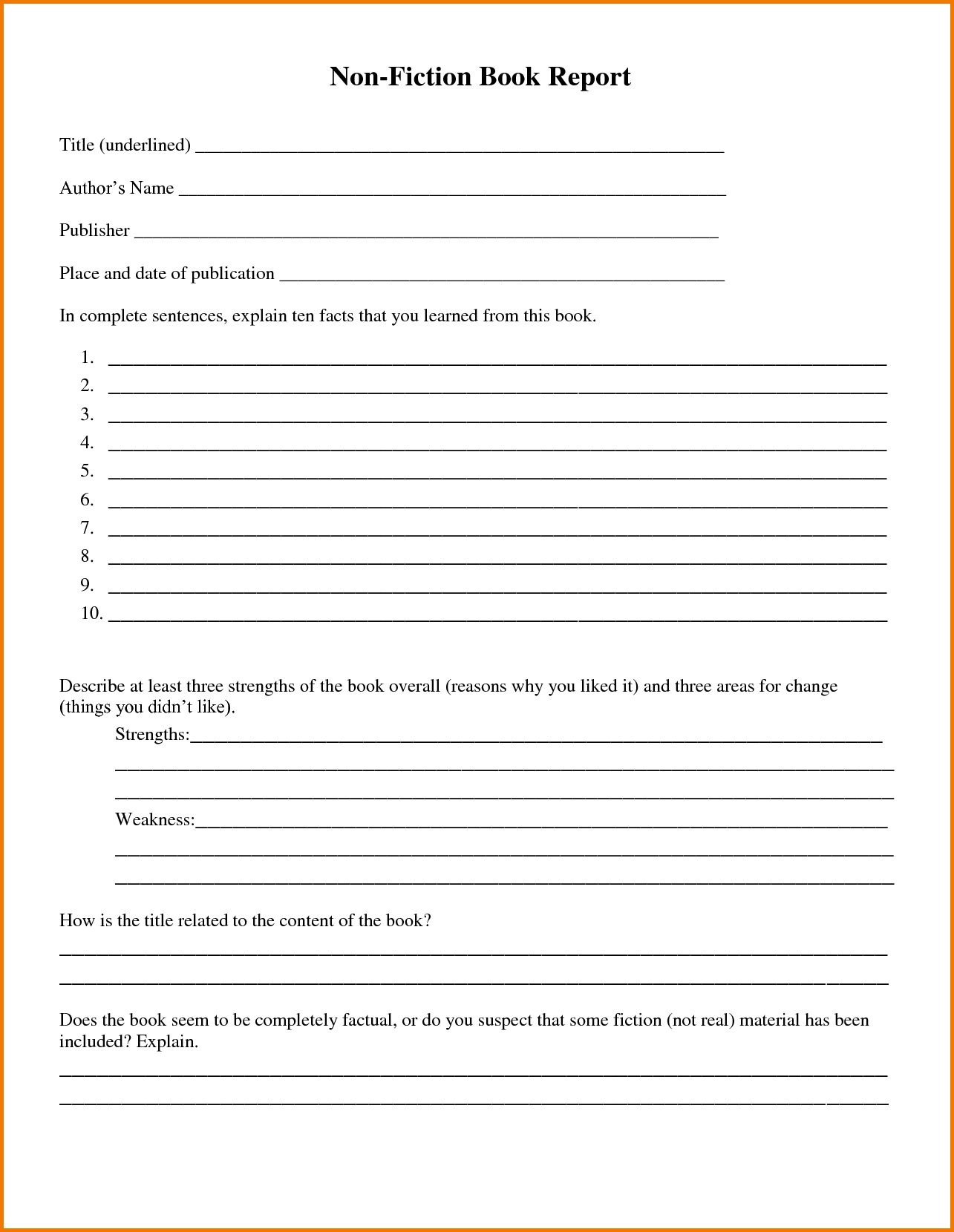 Report: Free Printable Book Report Template. Book Report Template - Book Report Template Free Printable