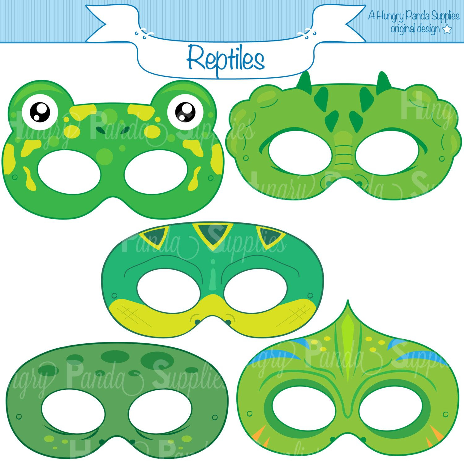 Reptile Printable Masks, Lizard Mask, Turtle, Alligator, Chameleon - Free Printable Lizard Mask