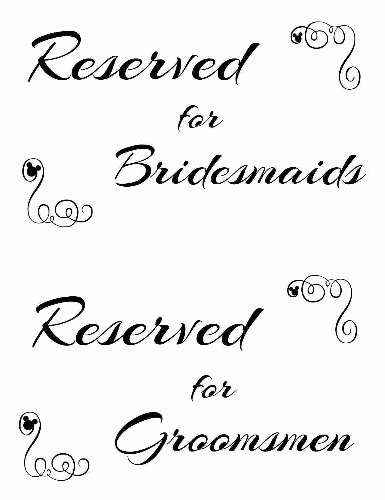 Reserved Seating Signs Template Unique Free Printable Reserved - Free Printable Wedding Signs