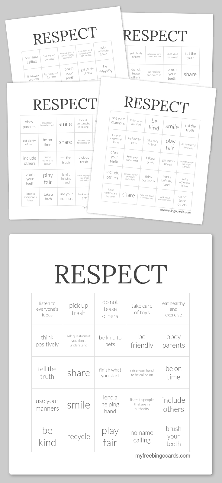 Respect Bingo | Counselor Ideas | Pinterest | Free Printable Bingo - Free Printable Self Esteem Bingo